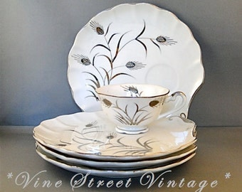 Lovely Porcelain Hand Painted Platinum Wheat Snack Set by Lefton