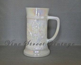 Vintage Fire King Milk Glass Iridescent  Beer Stien Oktoberfest