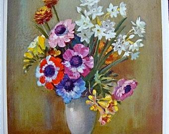 Vintage Floral Still Life Print by I Kern