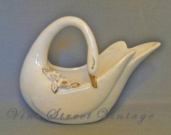 Vintage Opalescence Swan Planter