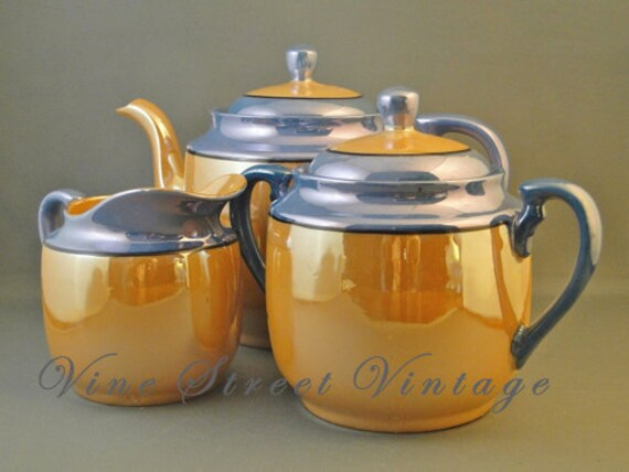 1950's Vintage Blue and Amber Luster Ware 27 Piece Lunchen Set
