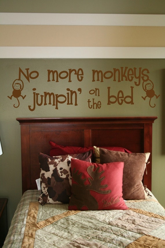 no more monkeys jumping on the bed vinyl wall quote lettering. Black Bedroom Furniture Sets. Home Design Ideas