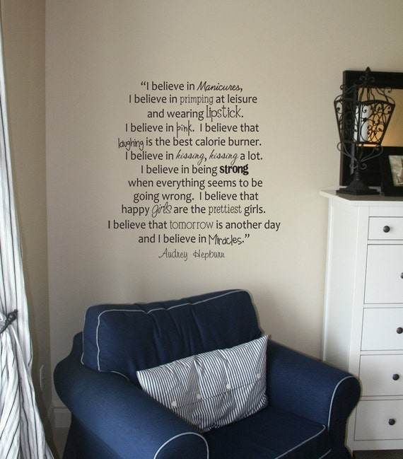 AUDREY HEPBURN Quote - Vinyl Wall Decal Art - Manicures, Believe, Lipstick, Laughing, Kissing, Miracles
