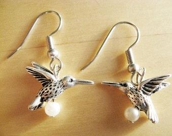 Pewter Hummingbird and Pearl Earrings