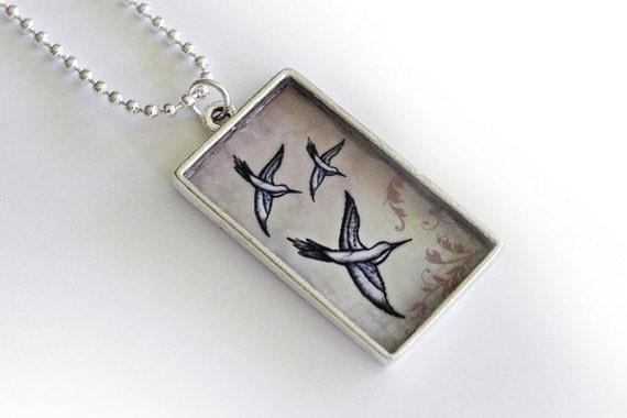 Handmade Hummingbird Art Pendant from Original Design