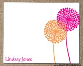 Modern Floral Print Note Cards, Set of 12 with envelopes