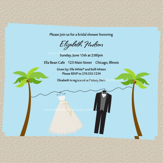 Beach Bridal Shower Invitations Bride Groom By TheInviteLadyShop