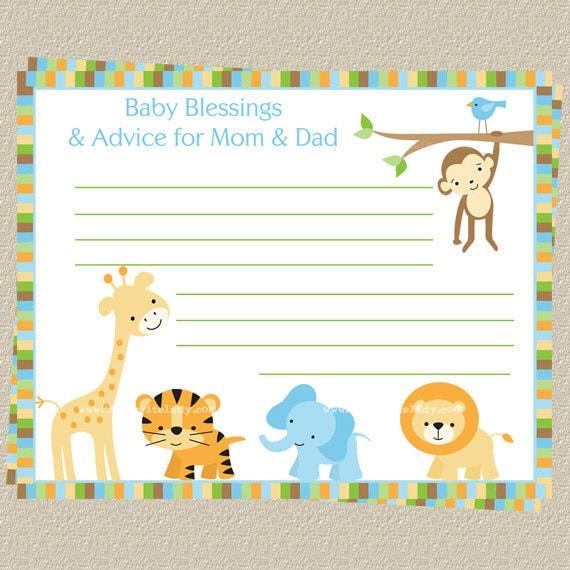 jungle theme advice cards safari baby shower theme words of wisdom