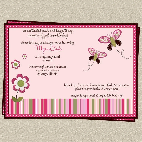 Butterfly Baby Shower Invites: Items Similar To Butterfly Baby Shower Invitation With