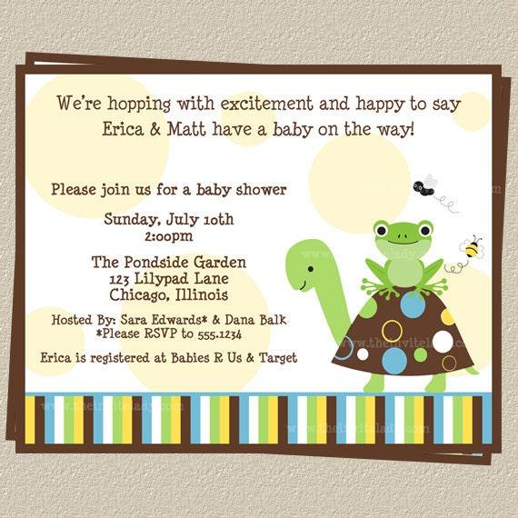 baby shower invites turtle invitations set of 10 printed invitations