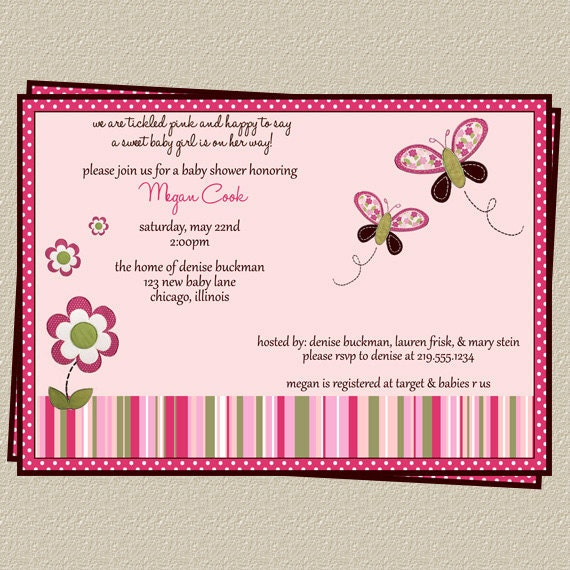 Items Similar To Modern Butterfly Invitation, DIY, Printable Baby Shower Invitations, Size 5x7