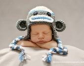 Sock Monkey Earflap Hat in Blue, White and Gray - Available in size Newborn through 5T