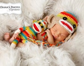 Newborn Sock Monkey Hat, Rainbow & Tan Earflap Hat, Monkey Baby Hat, Newborn Baby Hat, Rainbow Baby, Newborn Photo Prop, Ready to Ship