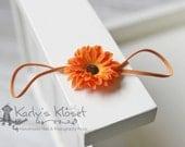 Orange Dainty Daisy Silk Flower Skinny Elastic Headband - Newborn Baby Girl Photography Photo Prop