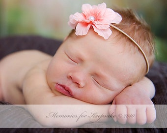Peach Baby Girl Flower Headband, Tan Skinny Elastic, Newborn Girls Photo Props, Infant Toddler Girl Headbands Prop