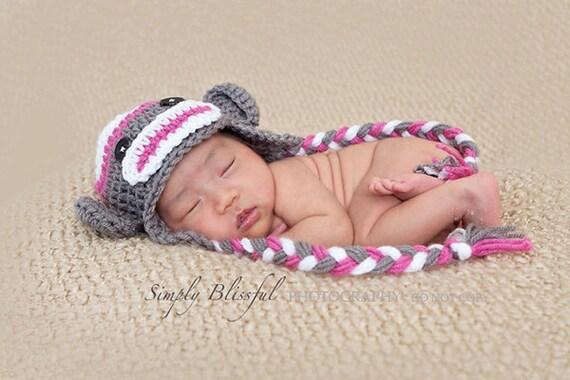 White, Bright Pink & Dark Gray Sock Monkey Earflap Hat - Newborn Baby Girl Photography Photo Props, Ready to Ship