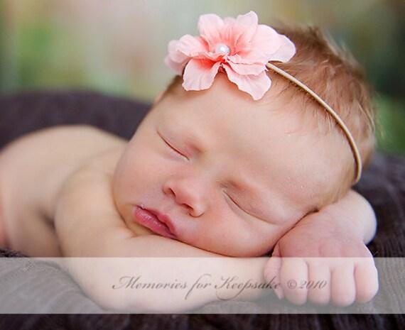 Baby Girl Headband, Peach Flower Headband, Newborn Girl Photo Prop, Skinny Elastic Headband, Photo Prop, Baby Girls Props, Headband Prop