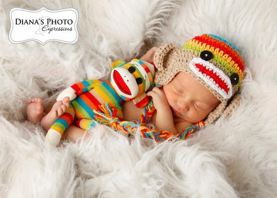 Newborn Sock Monkey Hat, Rainbow & Tan Earflap Hat, Monkey Baby Hat, Newborn Baby Hat, Rainbow Baby, Newborn Photo Prop, Ready to Ship