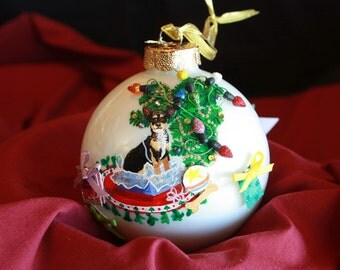 HAND PAINTED ORNAMENT - Chihuahwa  By Christmas Tree w/3d - Item 149