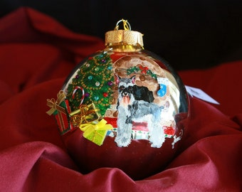 HAND PAINTED ORNAMENT - Snauzer -w/3d - Item 166