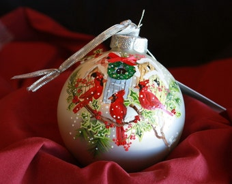HAND PAINTED ORNAMENT - Red Cardinal Birds - w/3d - Item 167