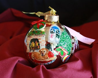 HAND PAINTED ORNAMENT - Yellow Lab - w/3d - Item 175