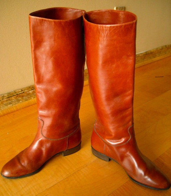 Vintage Saks Fifth Avenue Tan Sienna Riding Boots Size 8
