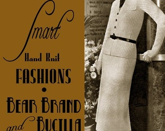 Bear Brand (98) c.1937 Chic Vintage Hand Knitting Fashion Patterns