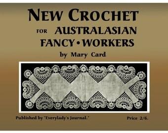 Mary Card c.1920 Vintge Australian Filet Crochet Design Pattern Book
