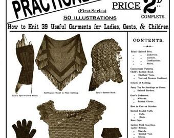 Weldons 2D (1) c.1885 - Practical Knitter Useful Garments - Victorian Era Knitting Patterns