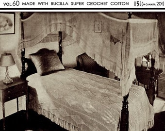 Bucilla (60) c.1932 - Hand Crocheted Colonial Cotton Bedspreads Patterns