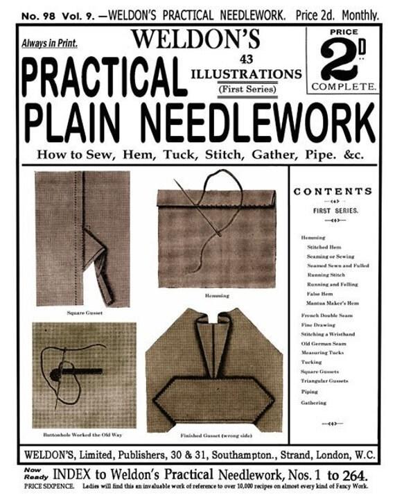 Weldon's 2D (98) c.1893 - Practical Plain Needlework - Hand Sewing Techniques, First Book