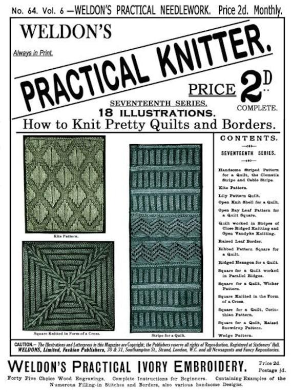 Weldons 2D (64) c.1891 Victorian Era Knitted Counterpane Quilts Book