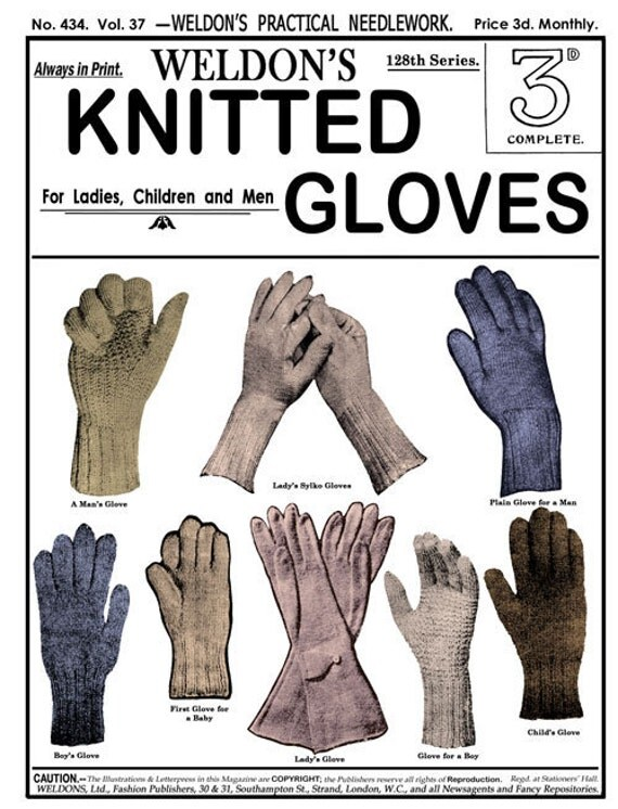 Turn of the Century Pattern book for Knitted Gloves Weldon's 2D (434) c.1920