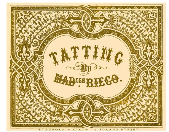 The Tatting Book by Mdlle Riego de la Branchardiere c.1850 Antique Needle Tatting Method
