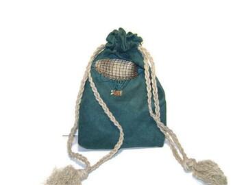 Teal Airship/Blimp/Zepplin Steampunk Bag- Gaming Dice, Oracle, Tarot, Runes, Reticule