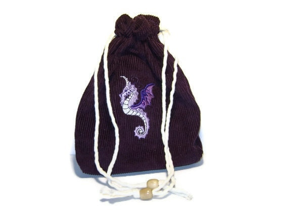 Purple Corduroy Bag With Embroidered Dragon/Wyvern - Silk Lined - Steampunk, Tarot, Oracle, Gaming Dice
