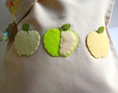 Travel Snack Bag / Green and Golden Yellow  Apples