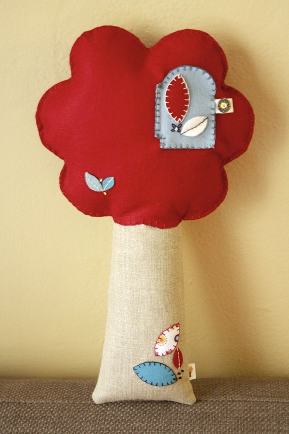 Plush Tree Pillow / Woodland Toys for Children / Red and Vintage Blue Pillow