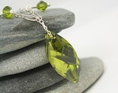 Crystal and Silver Necklace with Olive Green Navette Drop