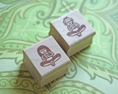 Hand Carved Mounted Small Yoga Girl & Boy Stamp