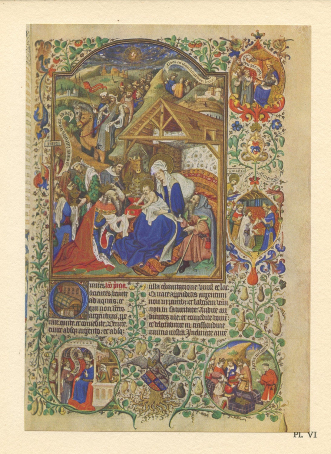 Illuminated Manuscript Page Jesus And The Adoration Of The