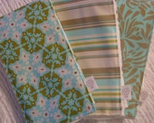 Amy Butler Daisy Chain - Designer Burp Cloth Set of 3 - Great Shower or New Baby Gift