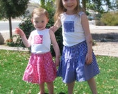 SALE Coordinating Sister SETS - Extra Twirly, Extra Girly Picnic Skirt Tank Top SET- Baby Toddler Girls Drop Waist Skirt - Gingham Garden