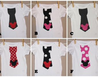 Disney Inspired Mickey Head Boys Tie Shirt - Baby Toddler Boy -Red Pink Black -Perfect for Disney Trips -Matches Girls Outfit- YOUR CHOICE