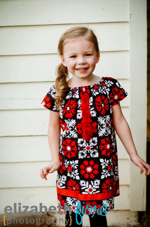 LAST 1- Girls Dress - Baby Toddler Girls Peasent Dress, Tunic Top - Black, White and Red All Over - Extra Girly Touches