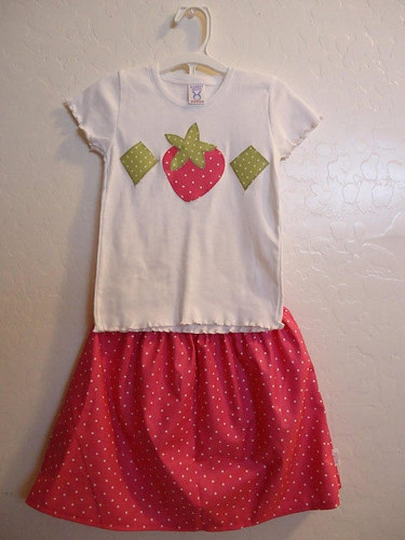 Strawberry Shortcake - Baby Toddler Girls Skirt Set - Pink Polka Dot Twirl Skirt and Matching Top - Great for Halloween and Birthday Parties