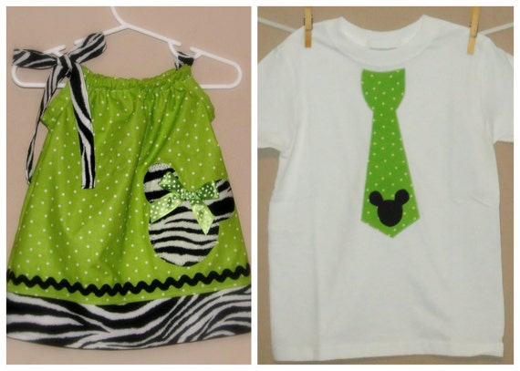 Disney Brother Sister Set - Girl Boy -Dress and Tie Shirt - Zebra and Lime Green Polka Dots -Perfect for Disney Trips