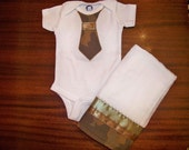 Camo Tie onesie/burp cloth set