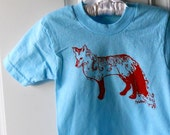 Fancy Fox tee shirt in toddler and children's sizes in blue and orange or custom colors